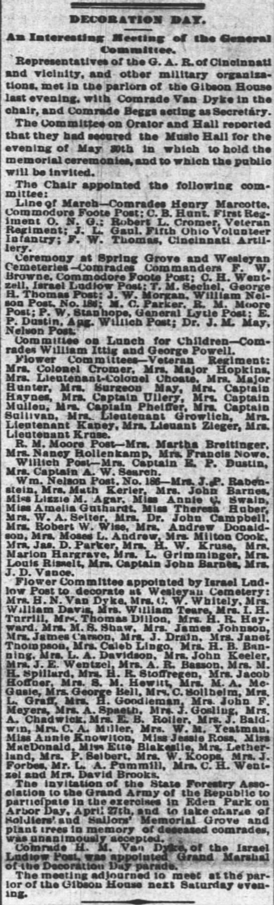Marie involved in Decoration Day event 22 Apr 1883 as Mrs A R Basson