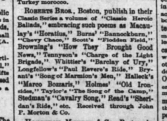 Classic Heroic Ballads - Courier-Journal, Louisville 23 Nov 1883