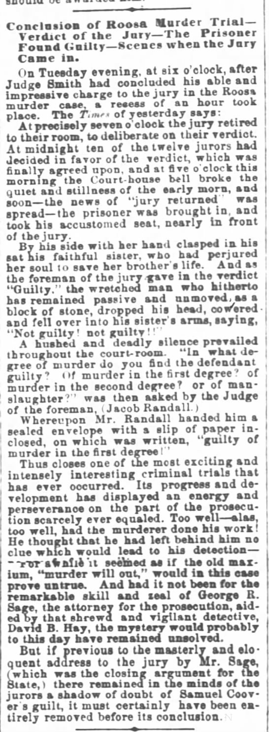 Verdict of first Covert trial Cincinnati Daily Enquirer 8 March 1866 page 2