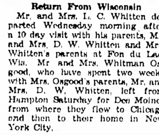 Mr. & Mrs. Whitman Osgood return to NYC from Wisconsin, after visiting with her parents. 7 Oct 1954
