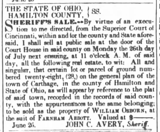 Notice of property auction for Wm. Osborn, 1841