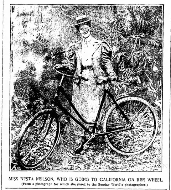 Nesta Neilson on her bicycle before leaving NYC 1897