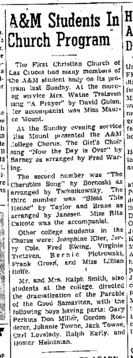Virginia Moore Tretsven performs, from Las Cruces Sun-News, 28 Oct 1948