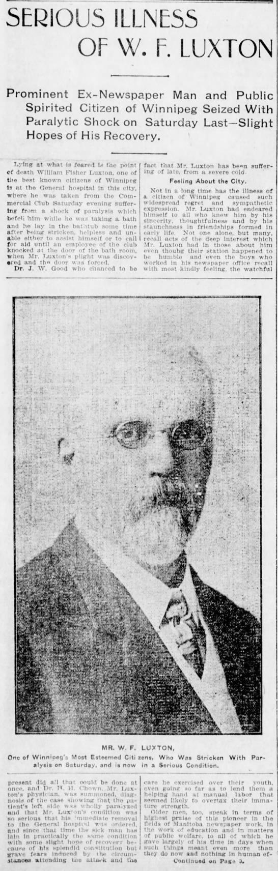W F Luxton Serious Illness 20 May 1907 Pg. 1