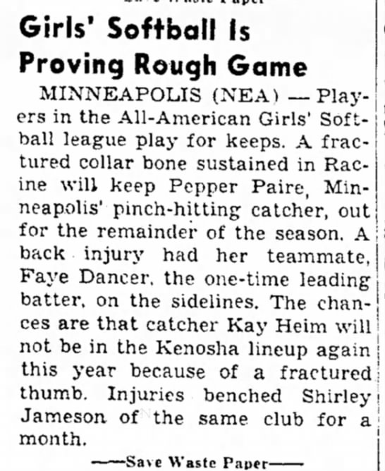 Injuries of players in All-American Girls Softball League