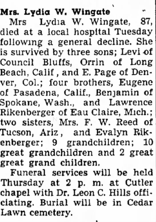 Obituary for Lydia Rinkenberger Wingate