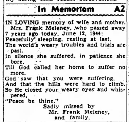 Meleney, Lillian - Memoriam