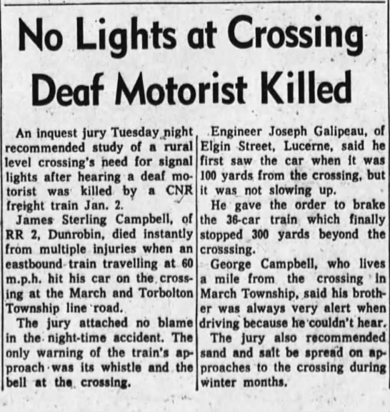 Sterling Campbell Death Ottawa Journal Mar 5, 1969
