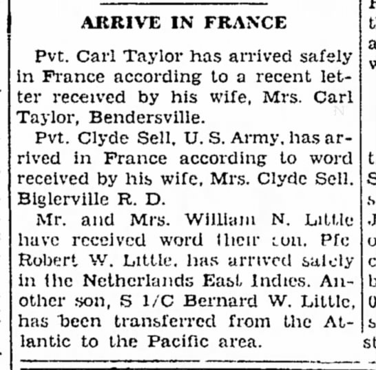 Carl Taylor and Clyde Sellarrive in France - 8 January 45