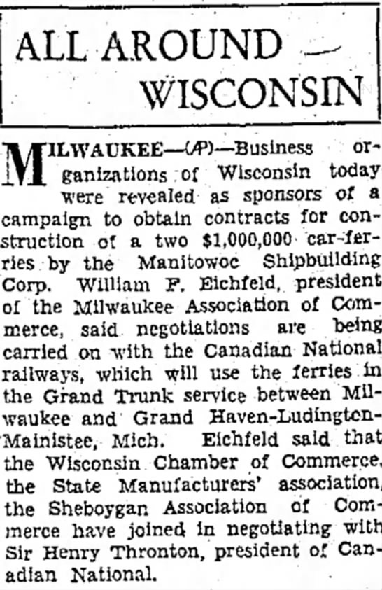 William F. Eichfeld - Pres. of the Milwaukee Association of Commerce - 22 March 1930