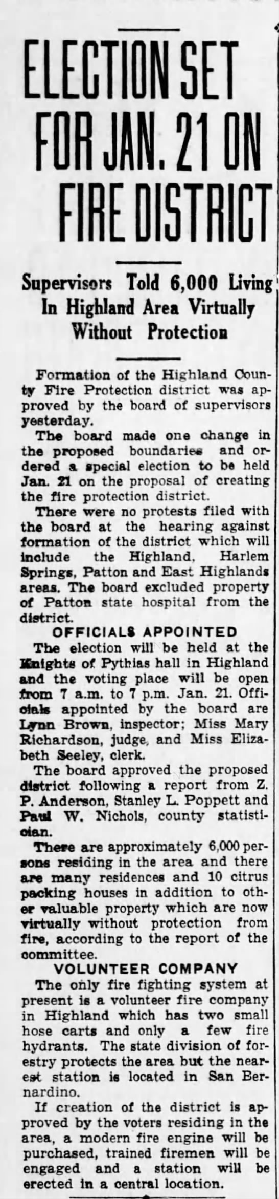 1937-12-28 Election Set For Jan. 21 on Highland Fire District
