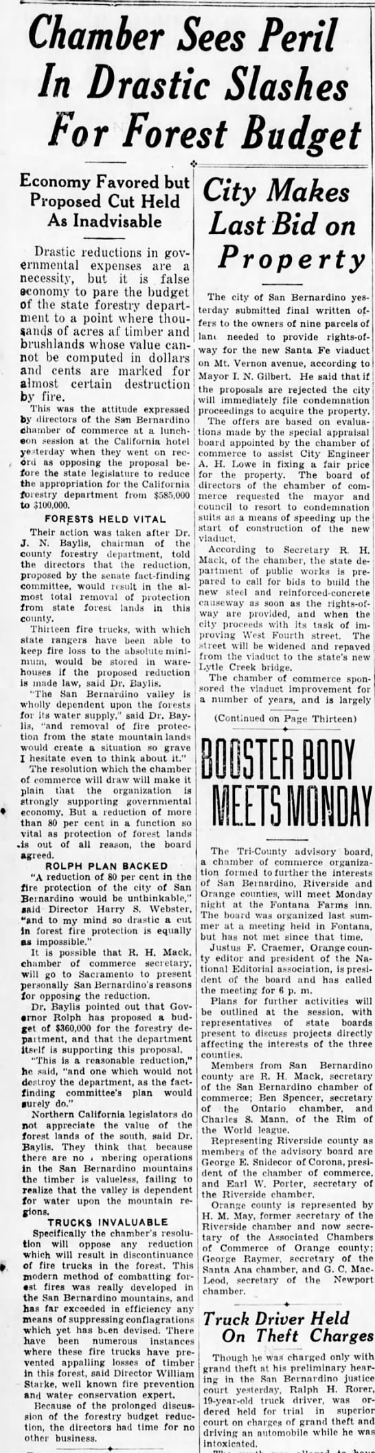 Chamber Sees Peril In Drastic Slashes For Forest Budget 3/25/1933