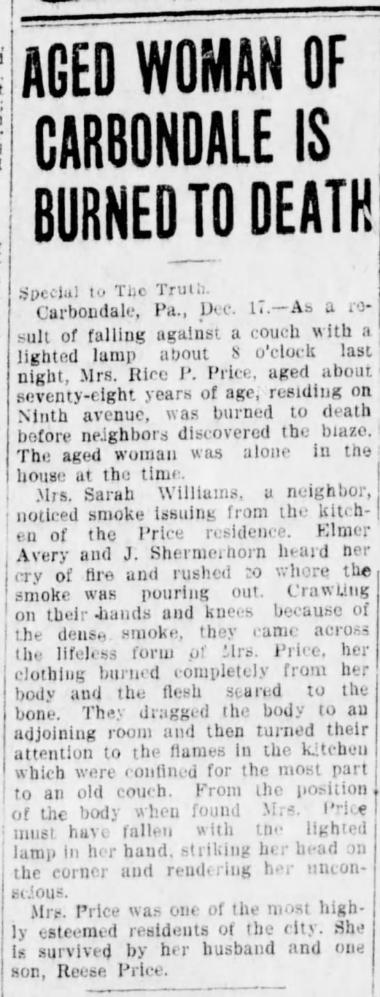 1910-12-17 Mrs Price Burned to Death