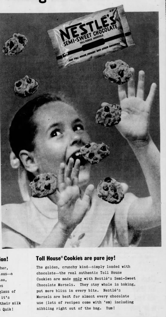 1955 ad for Nestle's semi-sweet morsels