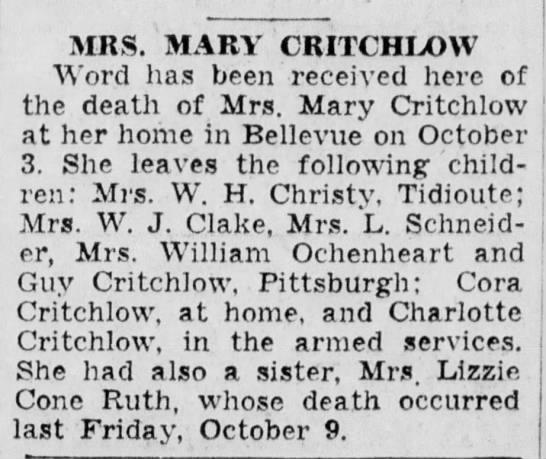 Mary Emmeline Griffin Critchlow Obituary 1942 Spouse George Washington Critchlow
