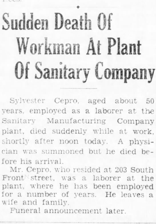 sudden death of workman at plant of sanitary company