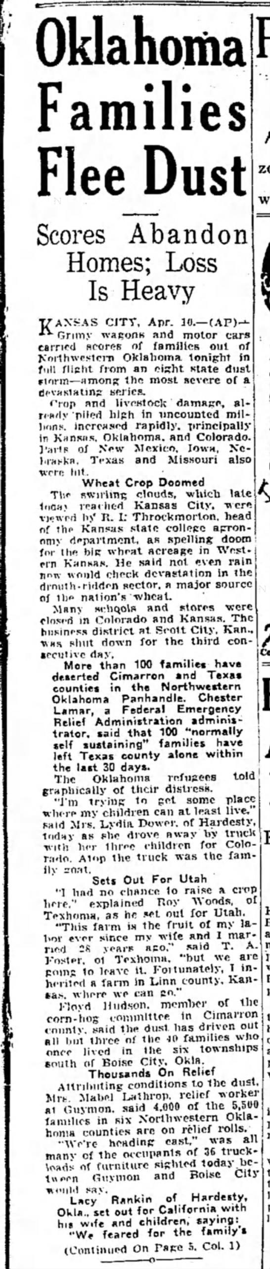 """Oklahoma Families Flee Dust"""