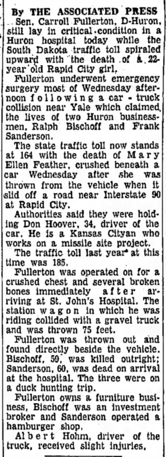 Carroll Fullerton's car accident explained - 19 Oct 1961 - The Daily Republic, Mitchell SD