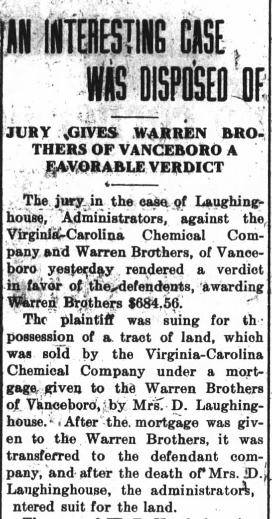 Warren Brothers wins civil case against Delitha Laughinghouse Estate for land