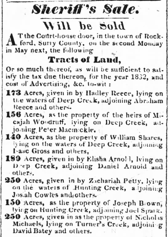 Abraham Reece land near Hadley Reece.