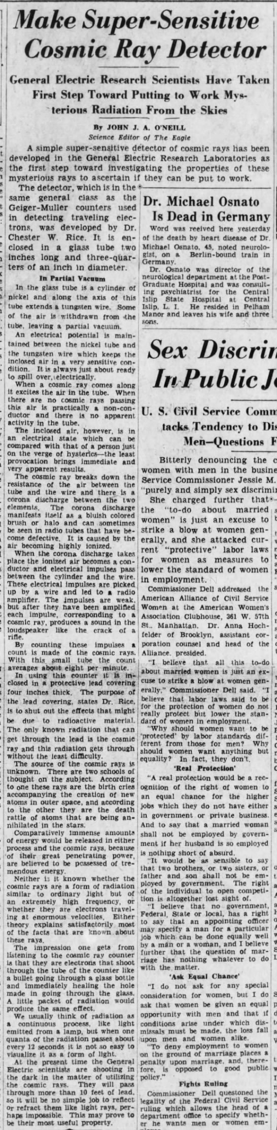 1932 John J ONeill Chester W Rice Cosmic Ray Detector for GE Brooklyn Daily Eagle June 17