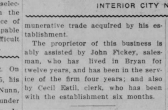 Bryan Daily Eagle, 22 April 1913, page 7.  James Furniture Company part 3