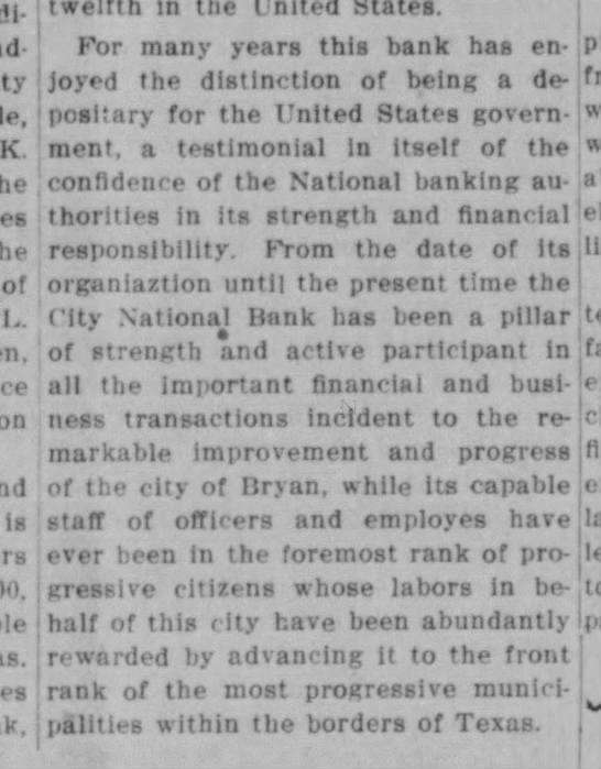 Bryan Daily Eagle, 22 April 1913, page 7.  City National Bank part 4