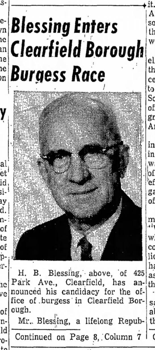 Harry Blessing enters-The Progress Clearfield PA 13 Apr 1961 p1 part 1