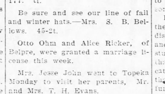 Ricker, Alice & Otto Ohm - marriage license - Kinsley Graphic - 10 Sep 1912, Thu - pg 5
