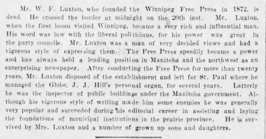 W F Luxton Obit Vancouver BC 23 May 1907