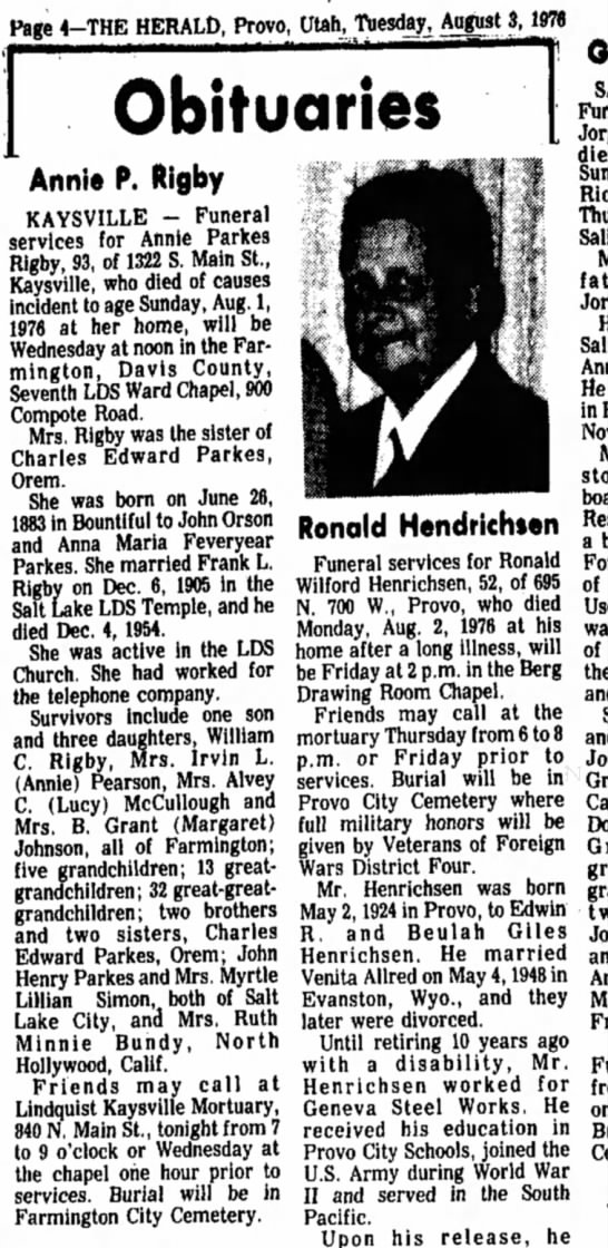 Annie Parks Obit, The Herald, Tuesday, August 3, 1976