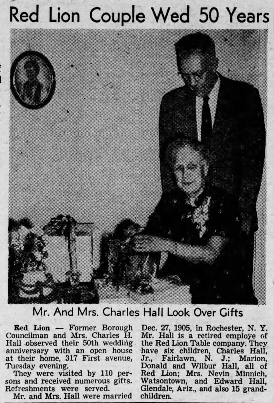 Mr. and Mrs. Charles Hall married 50 years, 1955