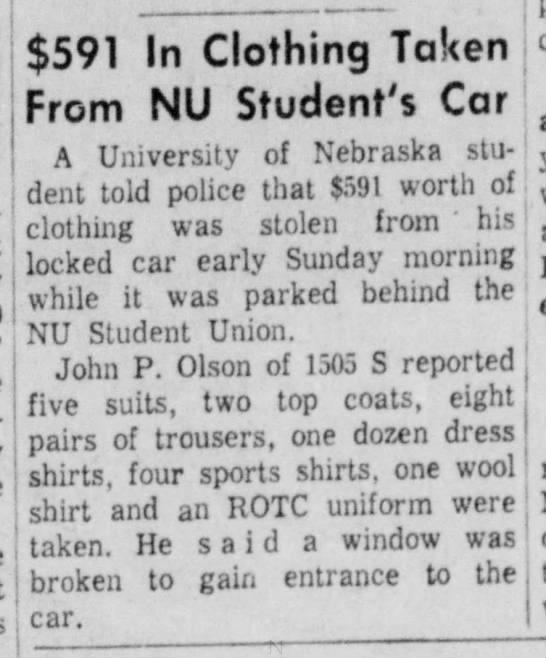 John P Olson - Car Broken Into - Aug 1956 - Lincoln, Nebraska