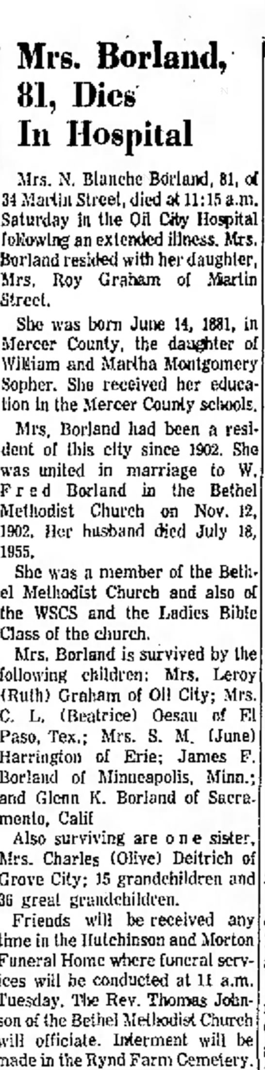 Nora Blanch sopher Borland Obit March 1963