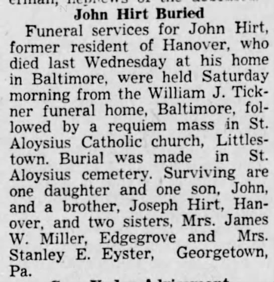 John Hirt obituary 1942