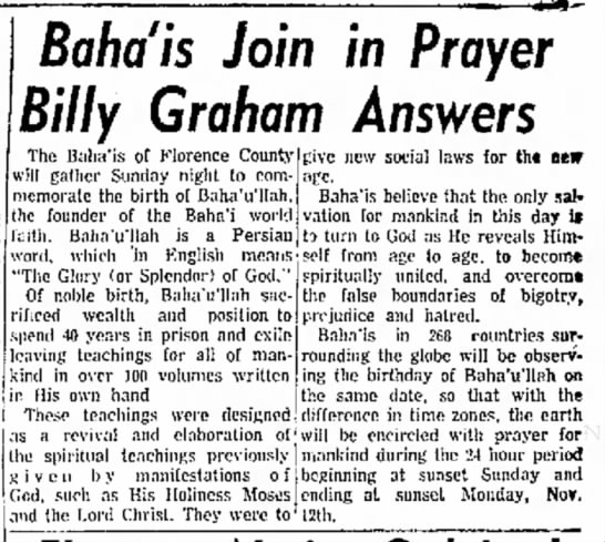 Baha'is commemorate (Billy Graham?)
