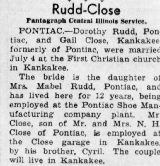 Rudd, Dorothy M.-Wedding to Gail Close-04 Jul 1936