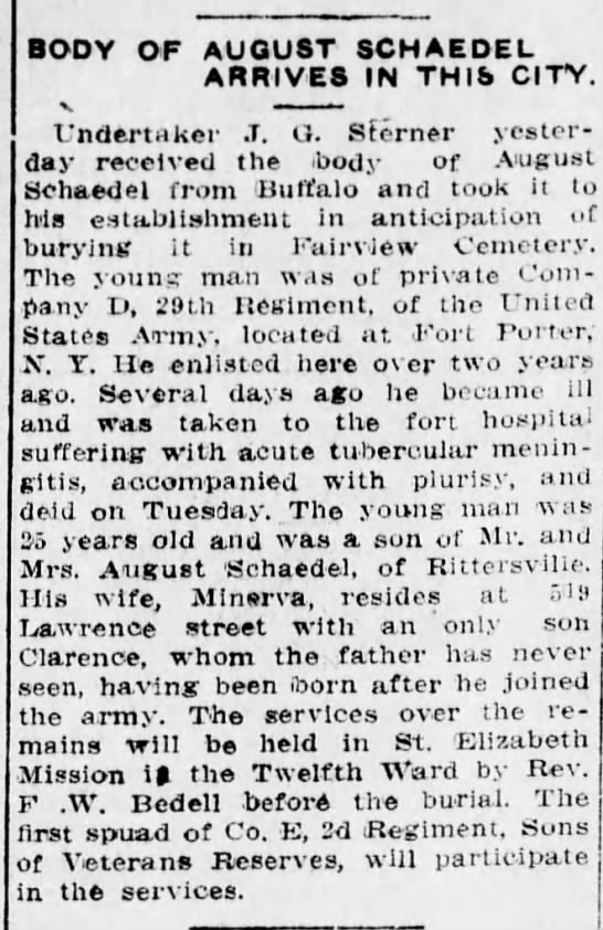 August Schaedel obituary 1914