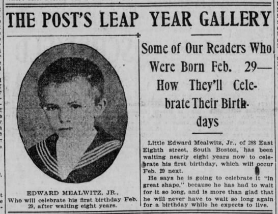 19040113 Edward Mealwitz to celebrate first birthday on Leap Year