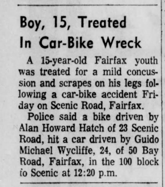 Guido Michael Wycliffe -- Accident with bike - 01 Dec 1969