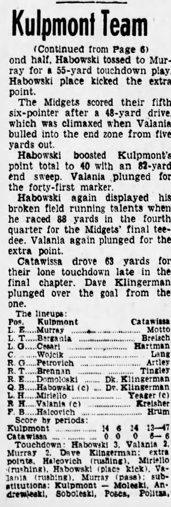 1956....Kulpmont Midget Football part 2