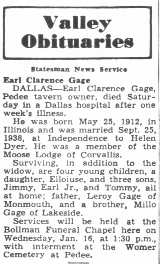 Earl Clarence Gage Obituary
