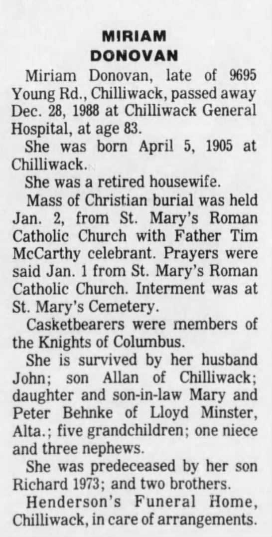 Obituary of Frances Miriam Donovan (nee Pelly)
