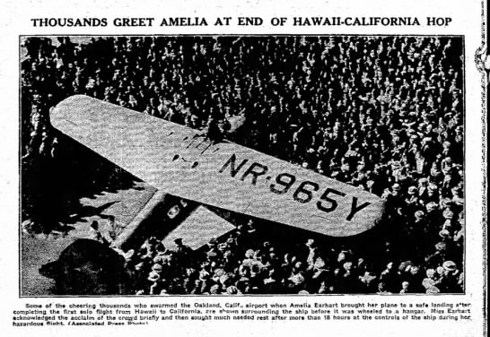 Thousands greet amelia at end of hawaii-cali hop