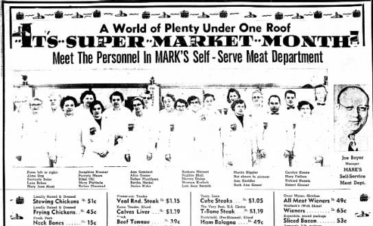 Marks Supermarket Jan 19 1956