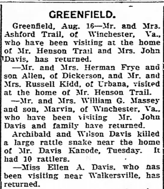 GreenField News Trails, Davis, Frye Families