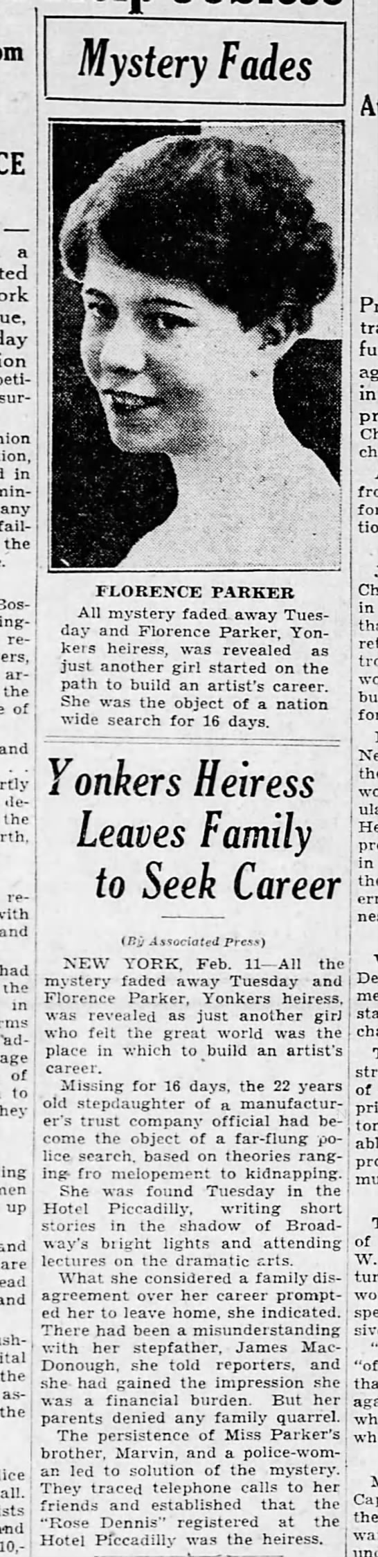 YONKERS HEIRESS FEB 11 1931 FOUND AFTER DISAPPEARING