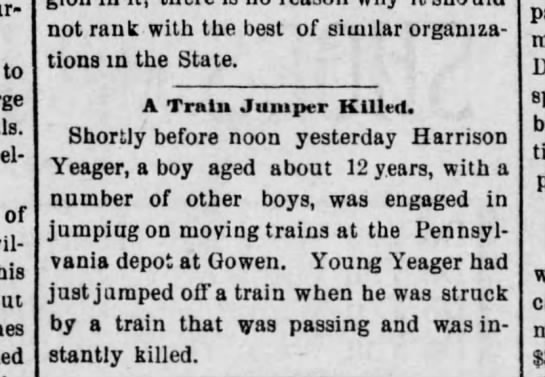 The Plain Speaker (Hazleton, Pa) 10 April 1888, Tu pg4. Death of 12 yr old Harrison Yeager