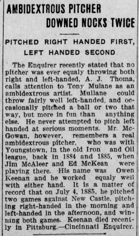 Owen Keenan Ambidextrous Pitcher Downed Nocks Twice 1908