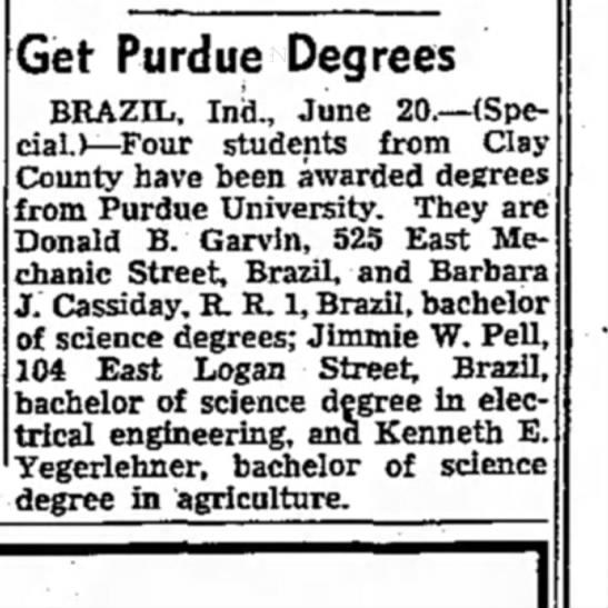 The Terre Haute StarTerre Haute, IN21 June 1950Barbara Jane Cassiday